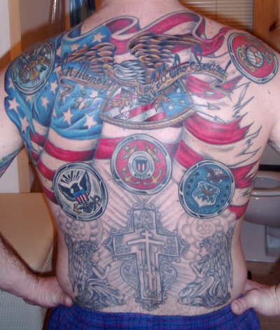 Flags Tattoo On Back Of Body