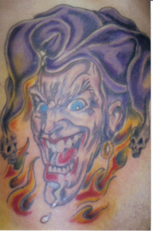 Flaky Clown With Hat Tattoo Design