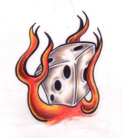 Flame Wing n Dice Tattoo Designs