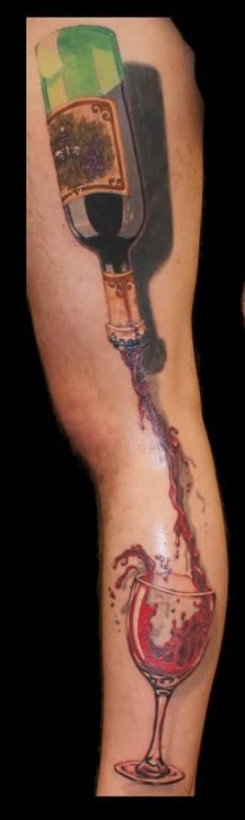Flames And Bottle Tattoos On Leg