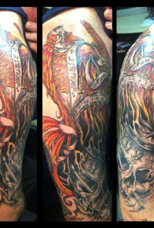 Flames And Grey Phoenix Tattoos On Arm