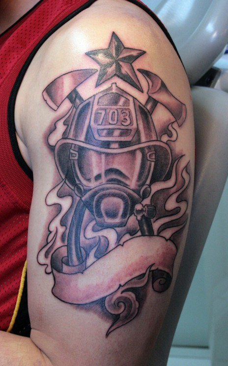 Flames And Red Firefighter Helmet Tattoos On Biceps