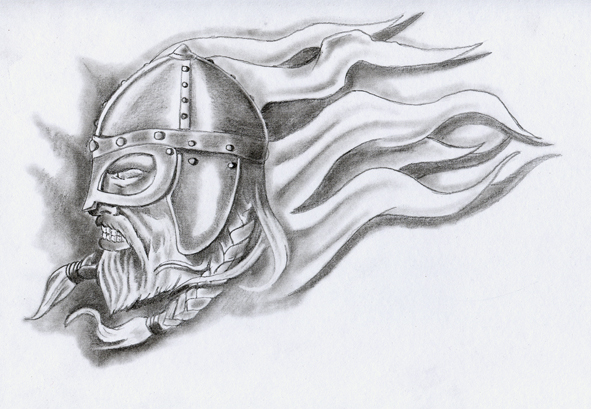 Flames And Viking Warrior Helmet Tattoo Drawing