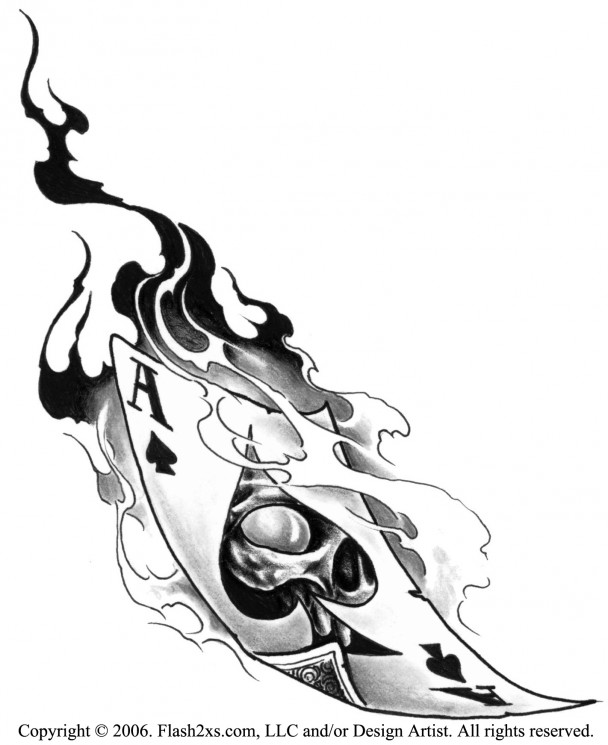Flames Coming Out Of A Heart Tattoo Stencil