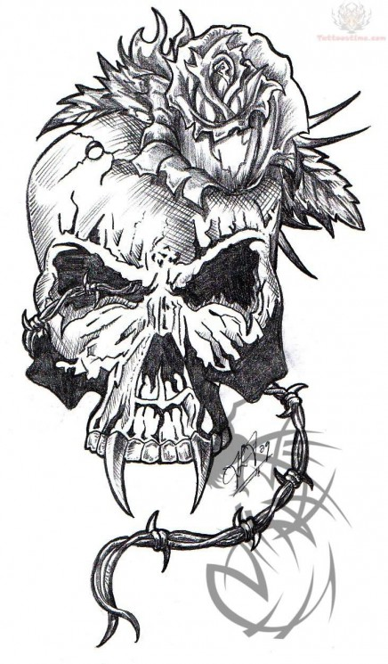 Flaming Army Skull Tattoo Design