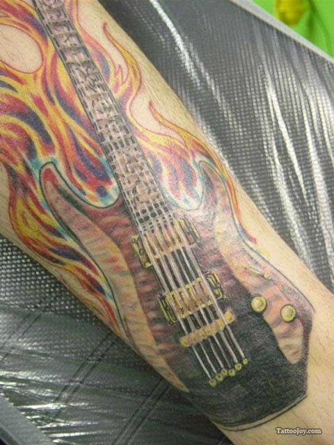 Flaming Band Guitar Tattoo On Shoulder