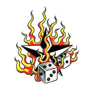 Flaming Dice Tattoo Design