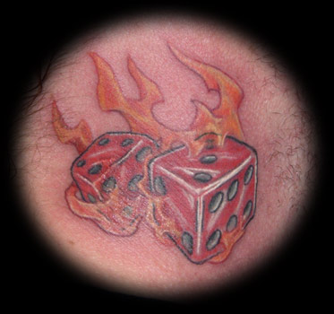 flaming dice tattoo design in 2017 real photo pictures images and sketches tattoo collections. Black Bedroom Furniture Sets. Home Design Ideas