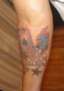 Flaming Dice With Cards n Star Tattoo Design