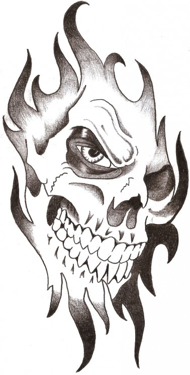 Flaming Halloween n Grim Reaper Tattoo Design