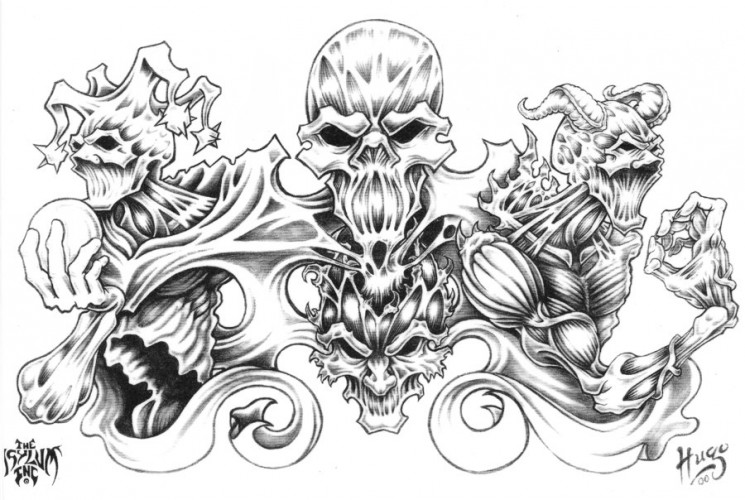 Flaming Skull Heart n Dagger Tattoo Design