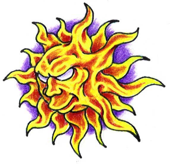 Flaming Sun Tattoo