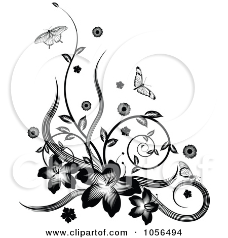 Floral Tattoo Designs Over White Background