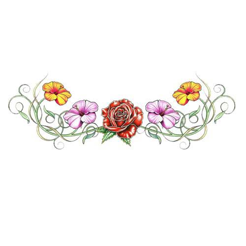 Floral Tattoo On Lower Back