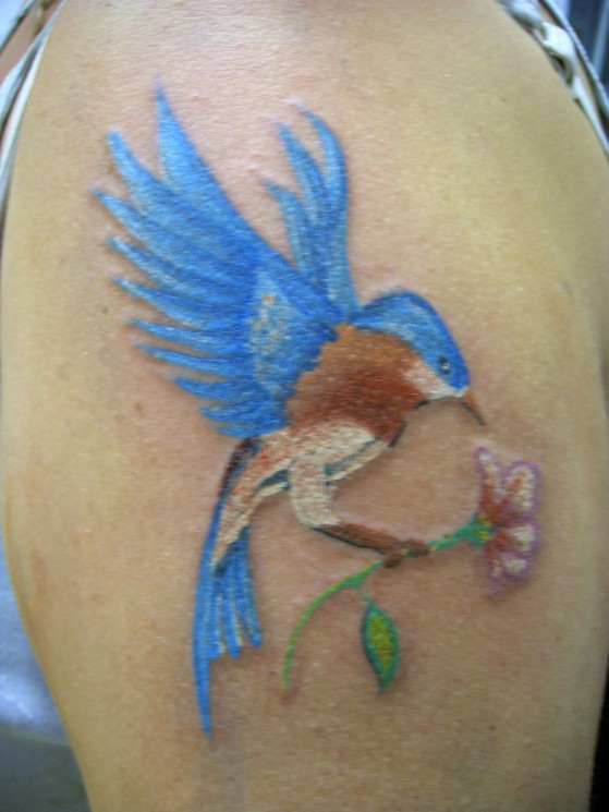 Flower And Hummingbird Tattoo Picture