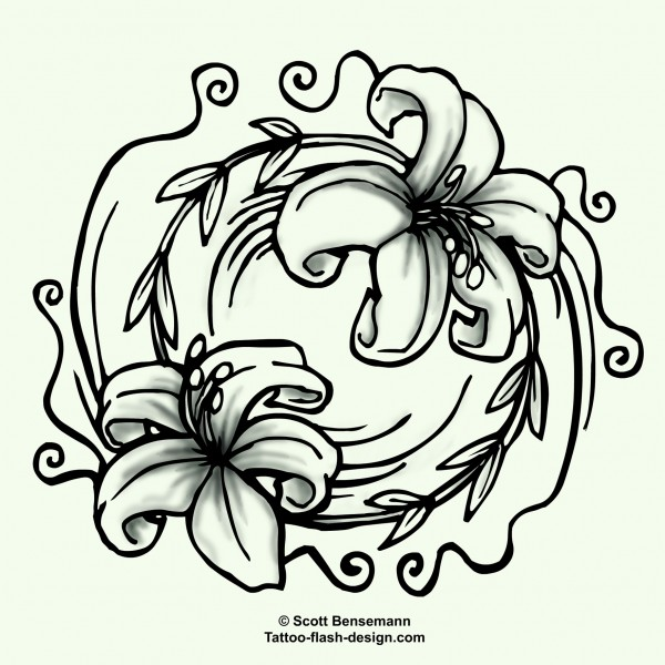 Flower And Yin Yang Tattoo Design