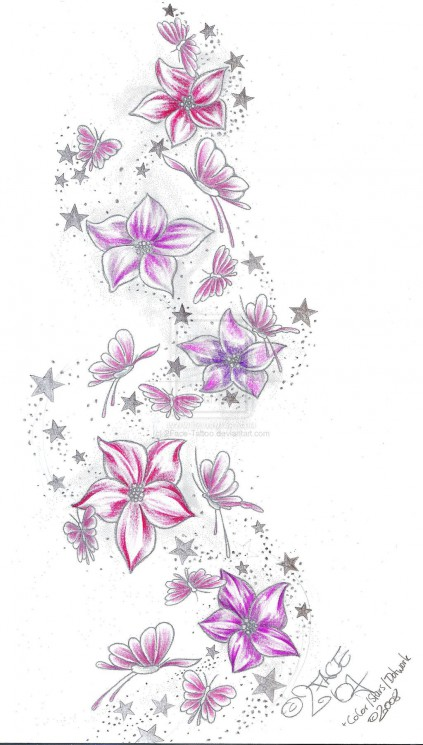 Flower Daisy n Butterfly Tattoo Design