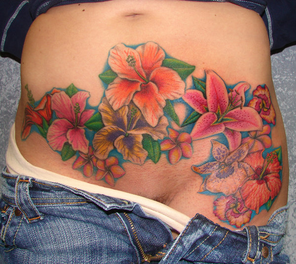 Flower Tattoos On Side Of Stomach