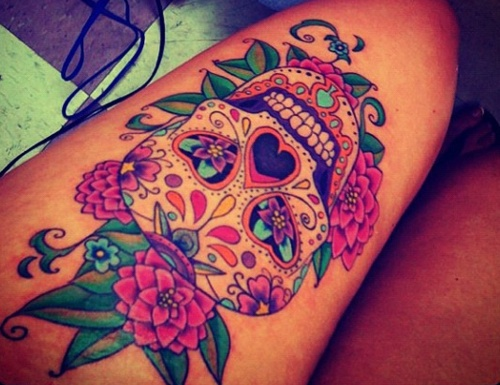 Flowers And Skull Right Thigh Tattoos