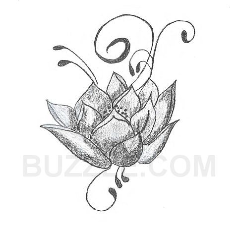 Flowers And Vine Tattoo Sketch