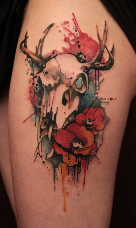 Flowers And Water Animal Tattoo