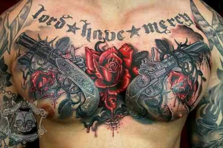 Flowers Birds And Pistols Heart Tattoos On Entire Chest