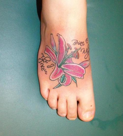 Flowers Foot Tattoo Design For Girls