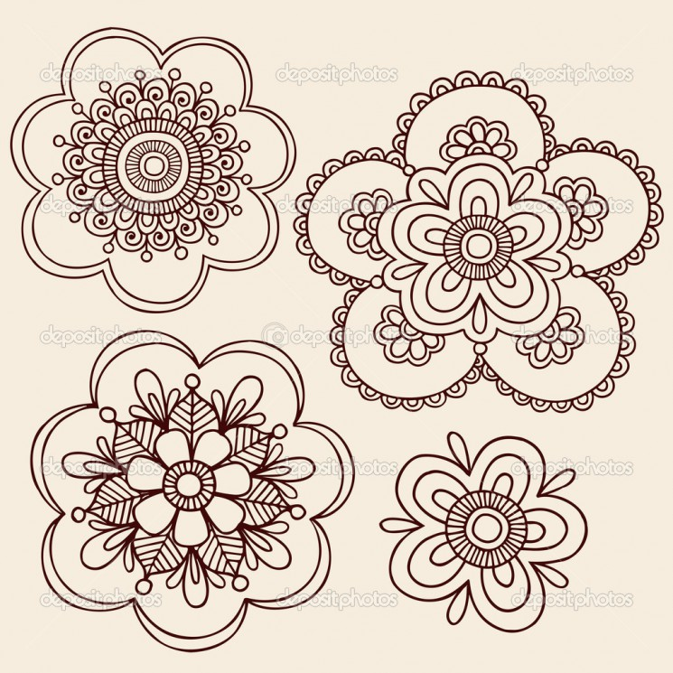 Flowers Henna Tattoo Design On hand
