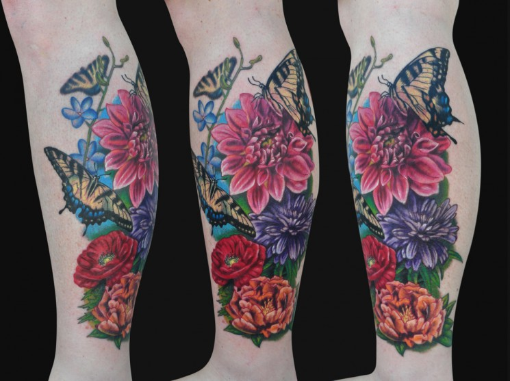 Flowers Leg Sleeve Tattoo Design