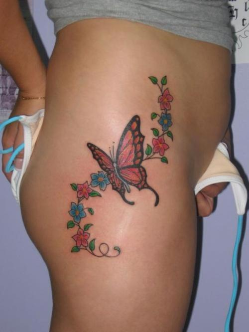 Flowers Tattoo On Lower Belly