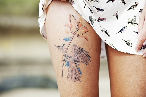 Flowers Tattoos On Right Thigh