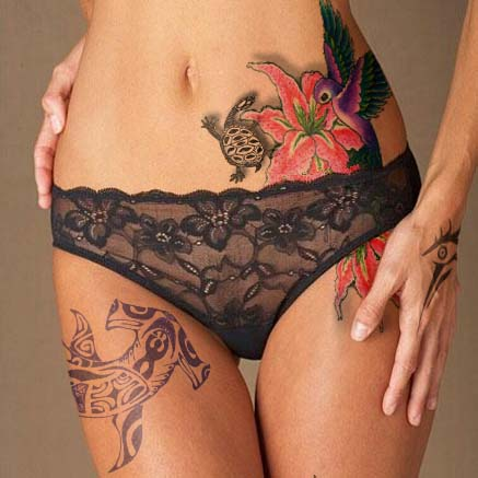 Flowers Vines Tattoo On Belly