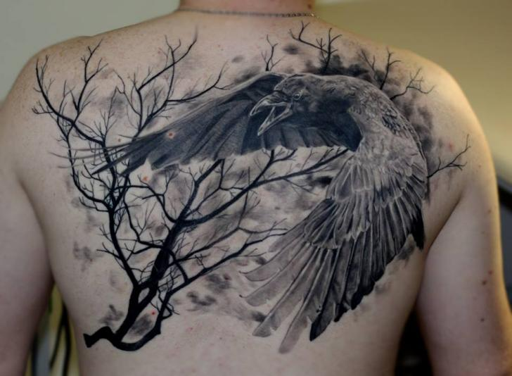 Flying Crows And Tree Tattoos On Side Back