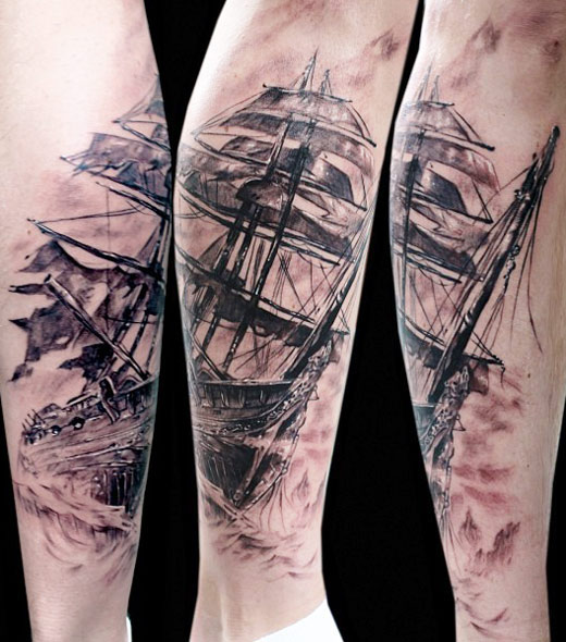 Fold Banner Rope And Anchor Tattoos