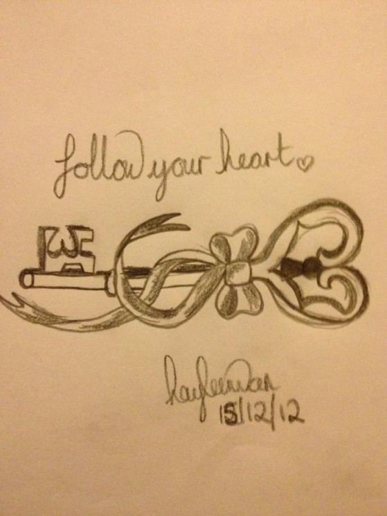 Follow Your Heart Pink Bow Key Tattoo Design