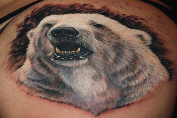 Forest Polar Bear Tattoo On Back