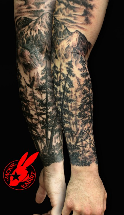 Forest Tree Sleeve Tattoos