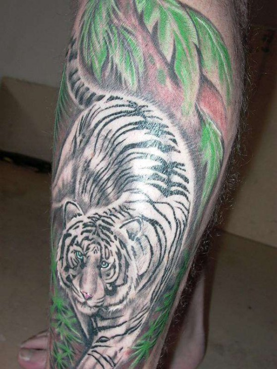 Forest White Tiger Tattoo On Leg