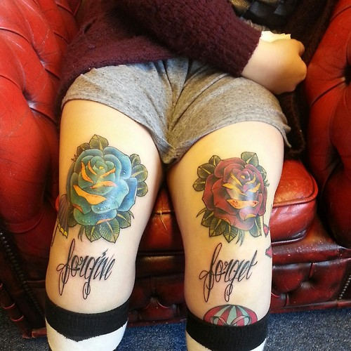Forgive Forget Rose Tattoos On Thigh