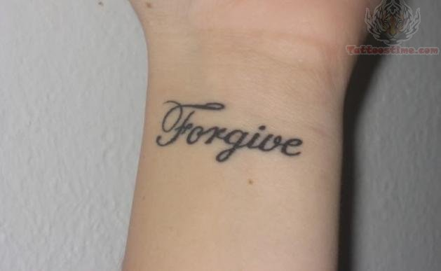 Forgive Me Lettering Tattoo On Back Neck