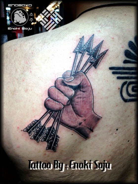 Four Arrows In Hand Tattoo