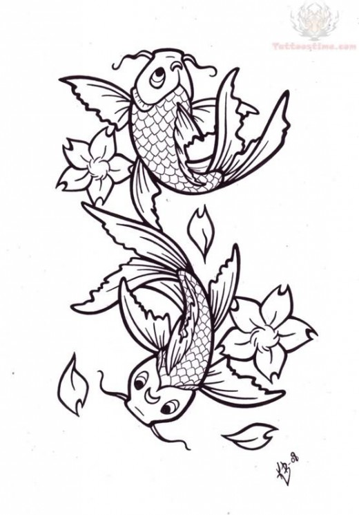 Free Cartoon Koi Fish Tattoo Designs