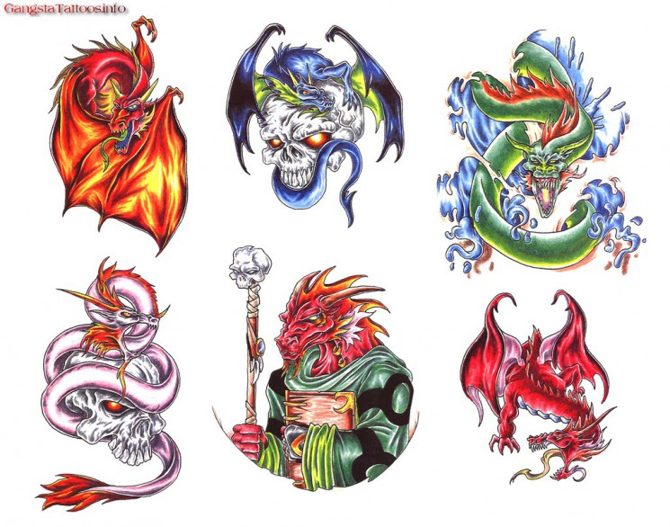 Free Dragon And Wizard Tattoo Design