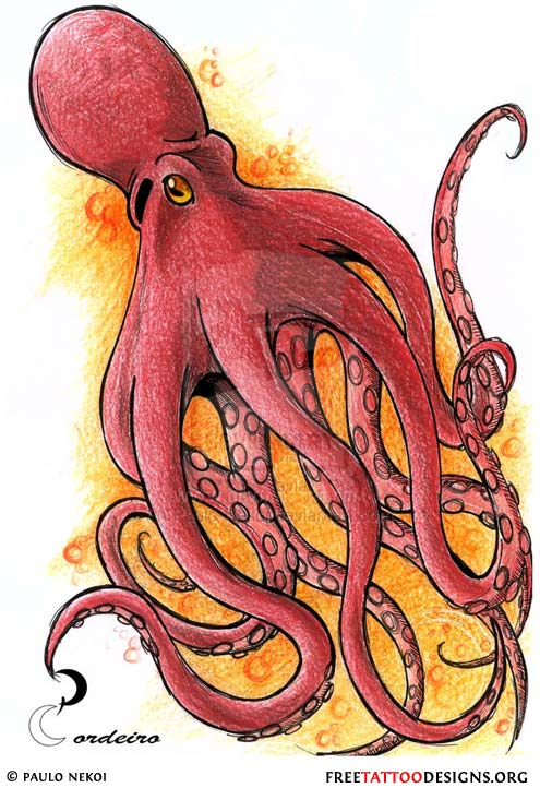 Free Red Octopus Tattoo Design