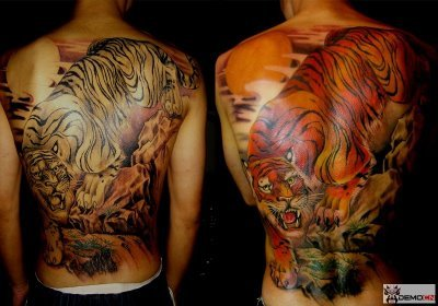 Free Tiger Tattoos On Back For Men