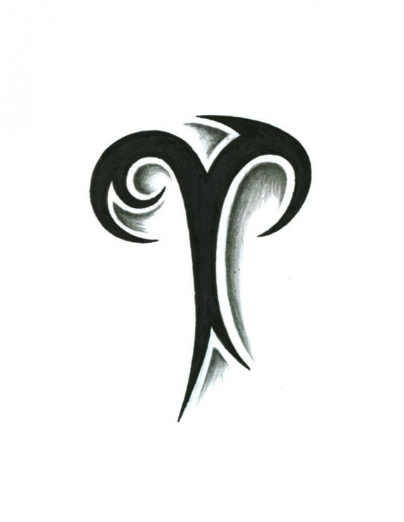 Free Tribal Aries Sign Tattoo Design