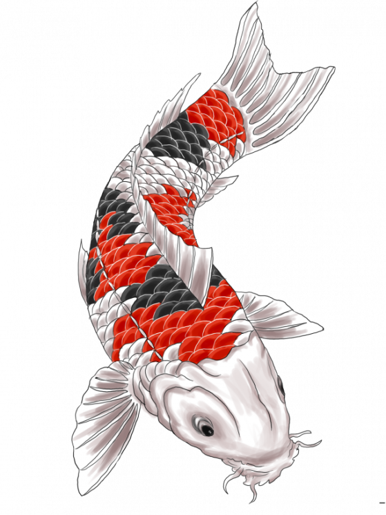 Free Waves And Koi Fish Tattoo Design