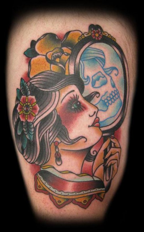 Hula Pin Up Girl With Arms Over Head Tattoo