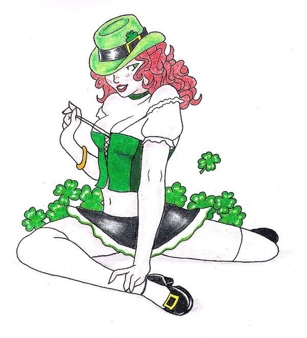 Fresh Irish Pin Up Girl Tattoo Design