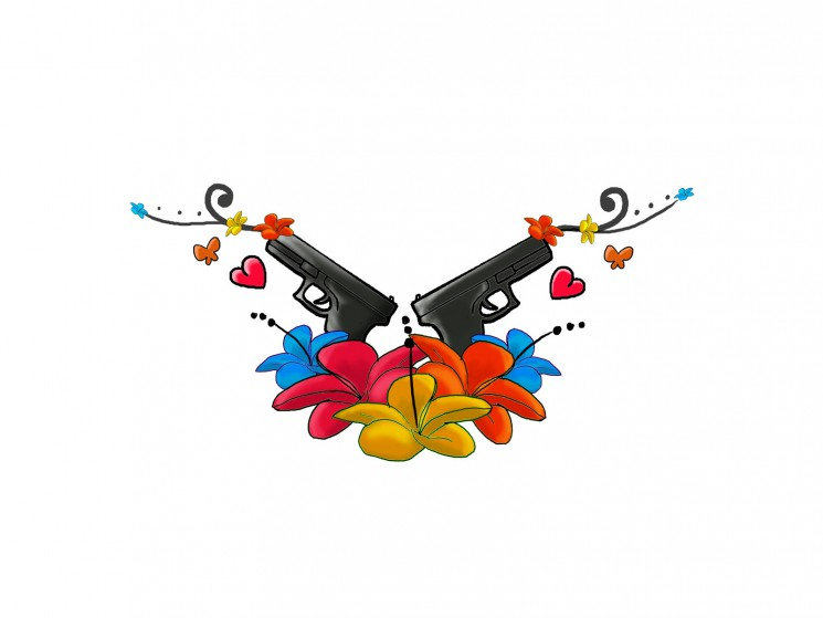 Fresh Pistols And Colorful Flowers Tattoo Designs